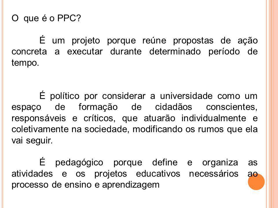 É um projeto porque reúne propostas de ação concreta a executar durante determinado período de tempo. É político por considerar a universidade como um