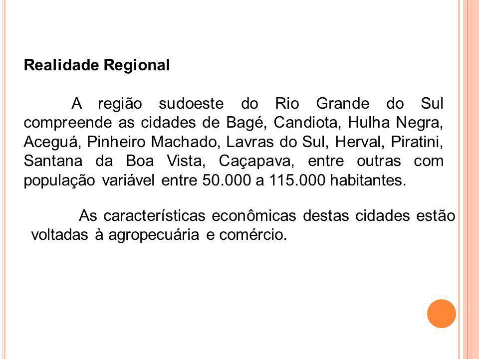 As características econômicas destas cidades estão voltadas à agropecuária e comércio. Realidade Regional A região sudoeste do Rio Grande do Sul compr