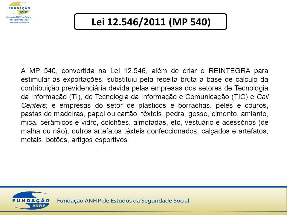 Lei 12.546/2011 (MP 540) A MP 540, convertida na Lei 12.546, além de criar o REINTEGRA para estimular as exportações, substituiu pela receita bruta a base de cálculo da contribuição previdenciária devida pelas empresas dos setores de Tecnologia da Informação (TI), de Tecnologia da Informação e Comunicação (TIC) e Call Centers; e empresas do setor de plásticos e borrachas, peles e couros, pastas de madeiras, papel ou cartão, têxteis, pedra, gesso, cimento, amianto, mica, cerâmicos e vidro, colchões, almofadas, etc, vestuário e acessórios (de malha ou não), outros artefatos têxteis confeccionados, calçados e artefatos, metais, botões, artigos esportivos