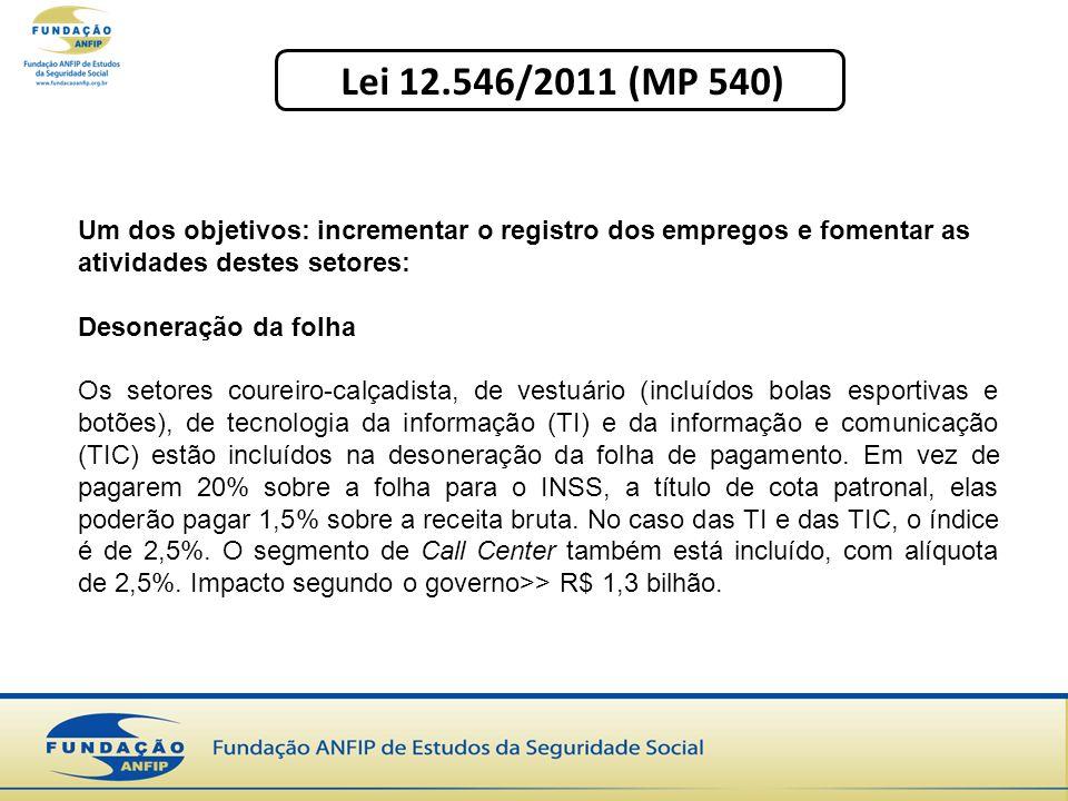 Lei 12.546/2011 (MP 540) Um dos objetivos: incrementar o registro dos empregos e fomentar as atividades destes setores: Desoneração da folha Os setore