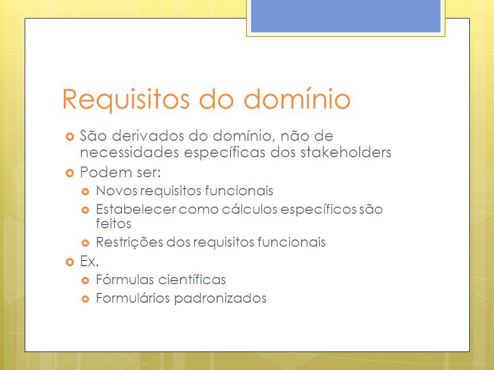 Requisitos do domínio São derivados do domínio, não de necessidades específicas dos stakeholders Podem ser: Novos requisitos funcionais Estabelecer como cálculos específicos são feitos Restrições dos requisitos funcionais Ex.
