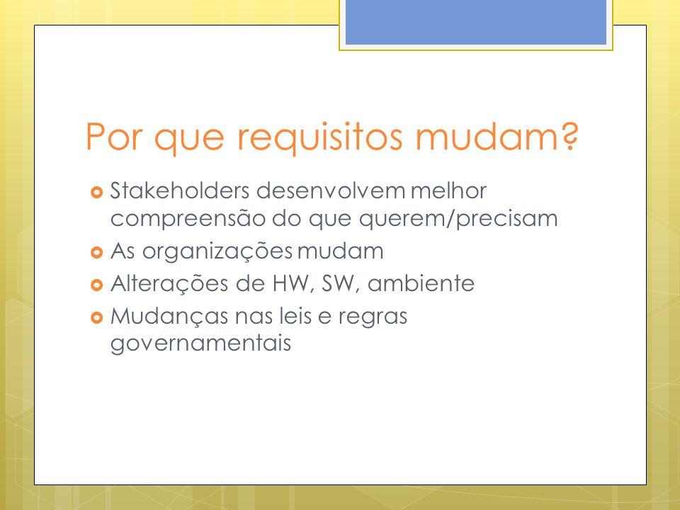 Por que requisitos mudam? Stakeholders desenvolvem melhor compreensão do que querem/precisam As organizações mudam Alterações de HW, SW, ambiente Muda