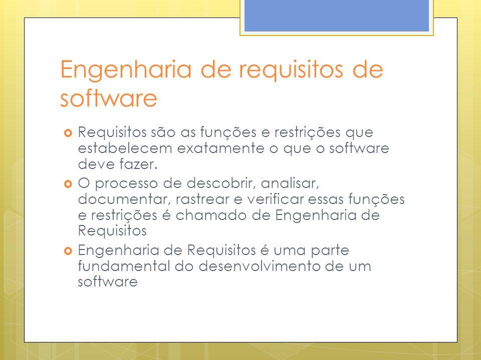 Engenharia de requisitos de software Requisitos são as funções e restrições que estabelecem exatamente o que o software deve fazer.