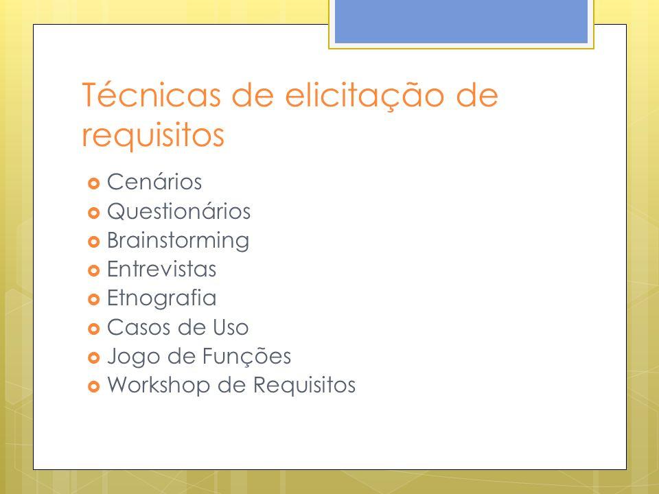 Técnicas de elicitação de requisitos Cenários Questionários Brainstorming Entrevistas Etnografia Casos de Uso Jogo de Funções Workshop de Requisitos