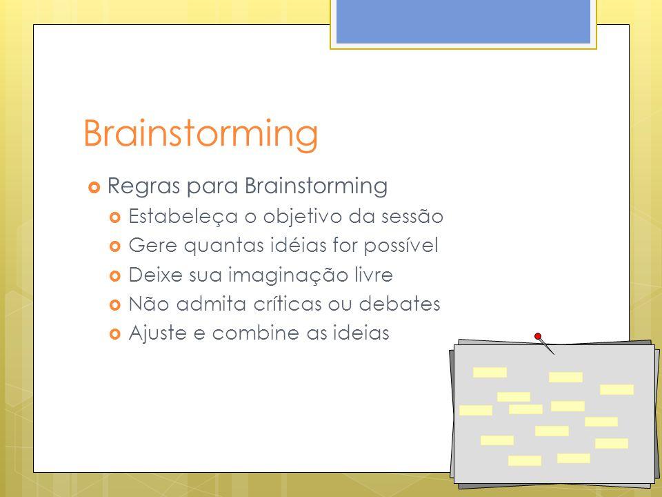 Brainstorming Regras para Brainstorming Estabeleça o objetivo da sessão Gere quantas idéias for possível Deixe sua imaginação livre Não admita críticas ou debates Ajuste e combine as ideias