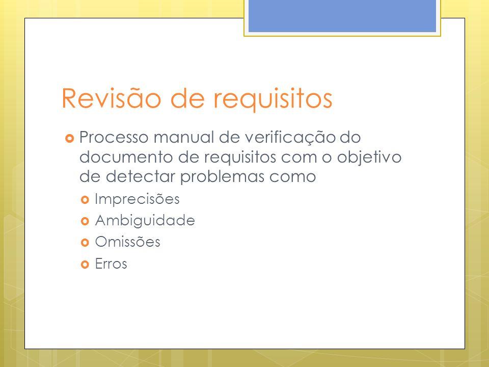 Revisão de requisitos Processo manual de verificação do documento de requisitos com o objetivo de detectar problemas como Imprecisões Ambiguidade Omis