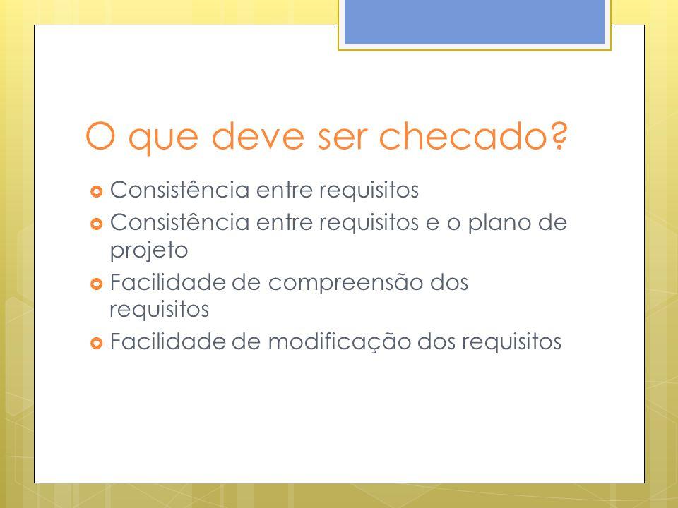 O que deve ser checado? Consistência entre requisitos Consistência entre requisitos e o plano de projeto Facilidade de compreensão dos requisitos Faci