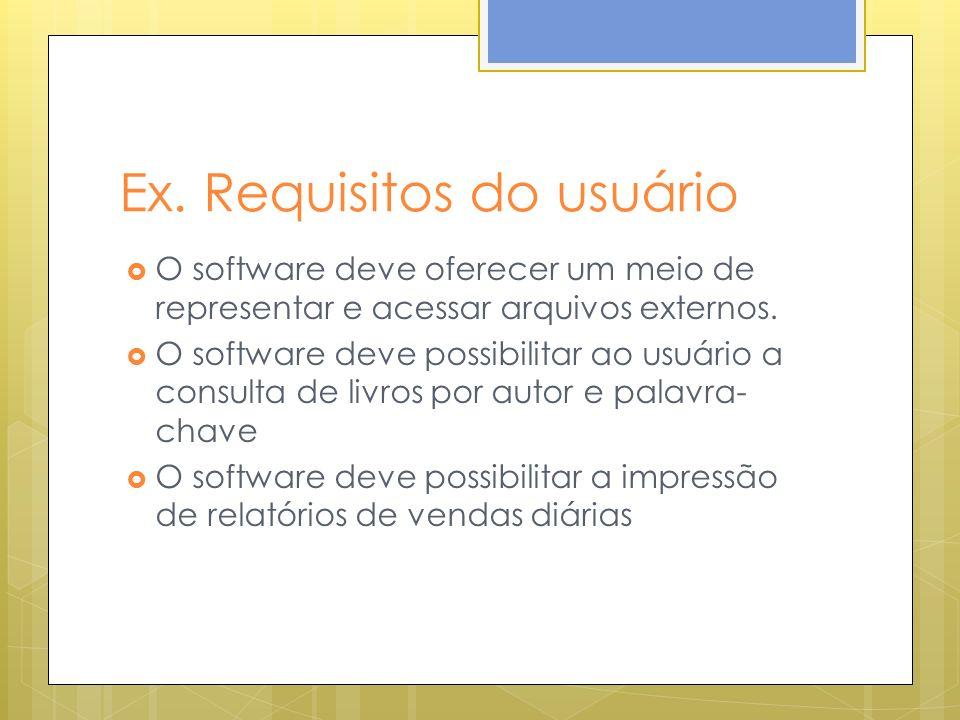 Ex. Requisitos do usuário O software deve oferecer um meio de representar e acessar arquivos externos. O software deve possibilitar ao usuário a consu