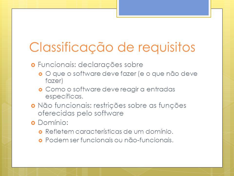 Classificação de requisitos Funcionais: declarações sobre O que o software deve fazer (e o que não deve fazer) Como o software deve reagir a entradas específicas.