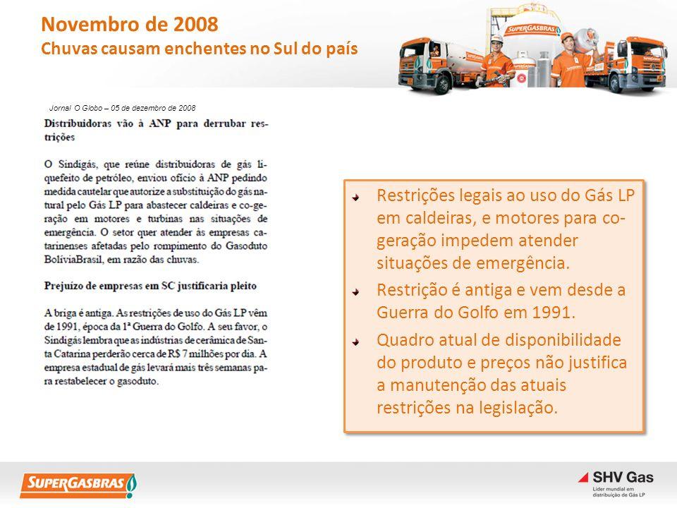Novembro de 2008 Chuvas causam enchentes no Sul do país Restrições legais ao uso do Gás LP em caldeiras, e motores para co- geração impedem atender si