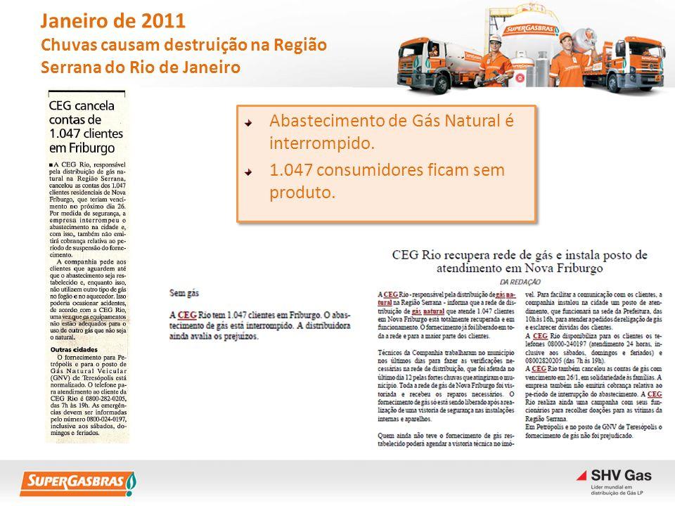 Janeiro de 2011 Chuvas causam destruição na Região Serrana do Rio de Janeiro Abastecimento de Gás Natural é interrompido. 1.047 consumidores ficam sem