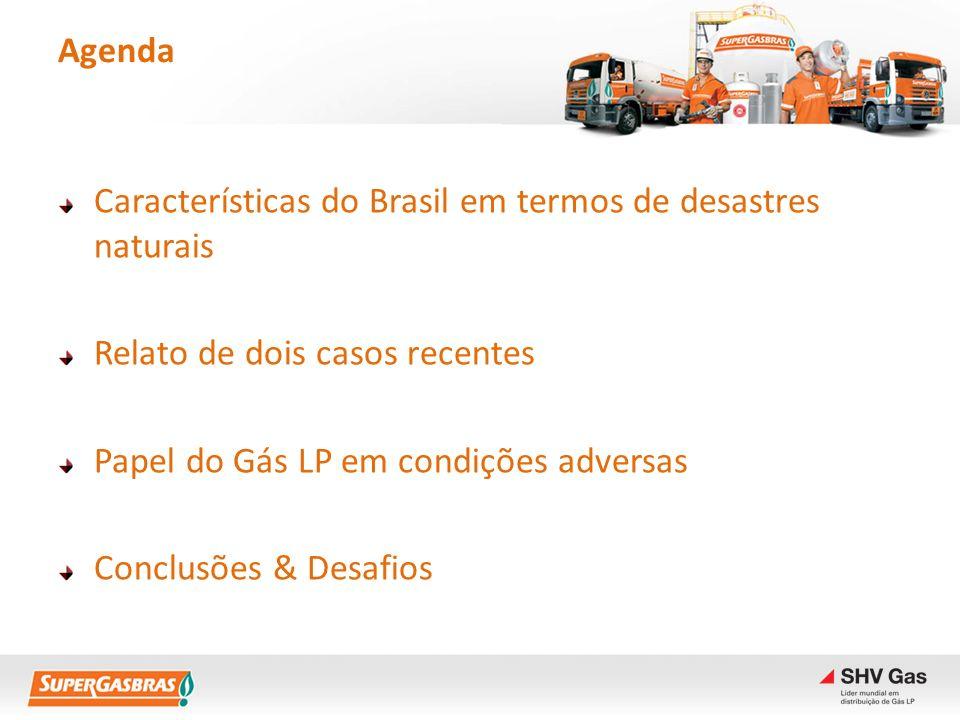 Agenda Características do Brasil em termos de desastres naturais Relato de dois casos recentes Papel do Gás LP em condições adversas Conclusões & Desa