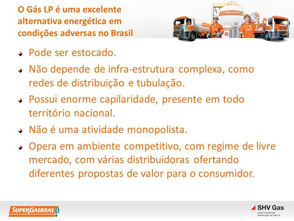 O Gás LP é uma excelente alternativa energética em condições adversas no Brasil Pode ser estocado. Não depende de infra-estrutura complexa, como redes