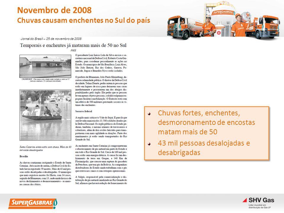 Novembro de 2008 Chuvas causam enchentes no Sul do país