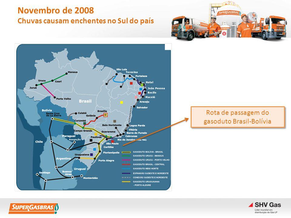 Novembro de 2008 Chuvas causam enchentes no Sul do país Tubulação do gasoduto Brasil- Bolívia se rompe e explode.