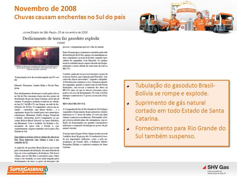 Novembro de 2008 Chuvas causam enchentes no Sul do país Tubulação do gasoduto Brasil- Bolívia se rompe e explode. Suprimento de gás natural cortado em