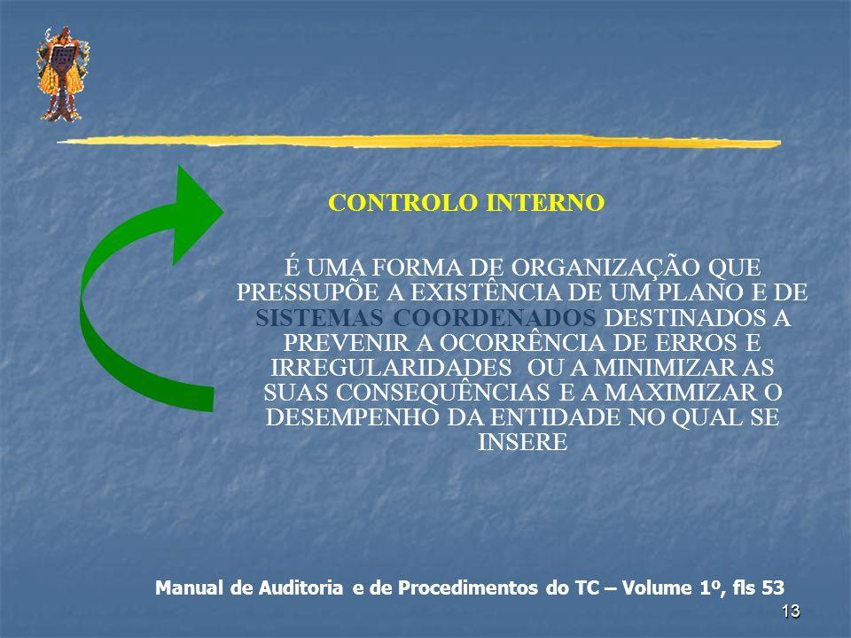 13 CONTROLO INTERNO É UMA FORMA DE ORGANIZAÇÃO QUE PRESSUPÕE A EXISTÊNCIA DE UM PLANO E DE SISTEMAS COORDENADOS DESTINADOS A PREVENIR A OCORRÊNCIA DE
