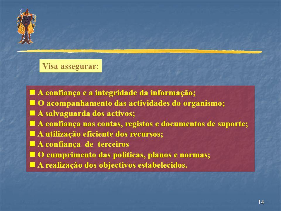 14 Visa assegurar: A confiança e a integridade da informação; O acompanhamento das actividades do organismo; A salvaguarda dos activos; A confiança na