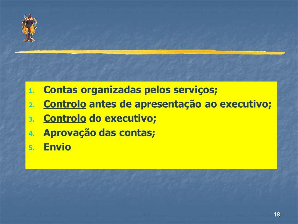 18 1. Contas organizadas pelos serviços; 2. Controlo antes de apresentação ao executivo; 3. Controlo do executivo; 4. Aprovação das contas; 5. Envio