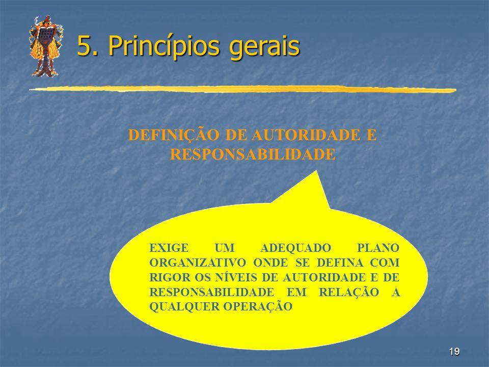 19 5. Princípios gerais DEFINIÇÃO DE AUTORIDADE E RESPONSABILIDADE EXIGE UM ADEQUADO PLANO ORGANIZATIVO ONDE SE DEFINA COM RIGOR OS NÍVEIS DE AUTORIDA