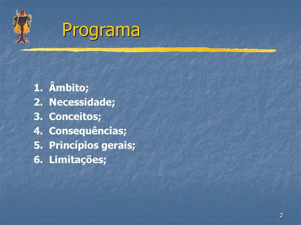2 1. Âmbito; 2. Necessidade; 3. Conceitos; 4. Consequências; 5. Princípios gerais; 6. Limitações; Programa