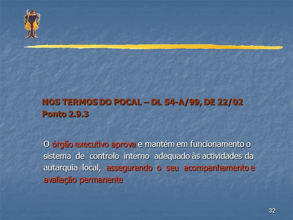 32 NOS TERMOS DO POCAL – DL 54-A/99, DE 22/02 NOS TERMOS DO POCAL – DL 54-A/99, DE 22/02 Ponto 2.9.3 Ponto 2.9.3 O órgão executivo aprova e mantém em
