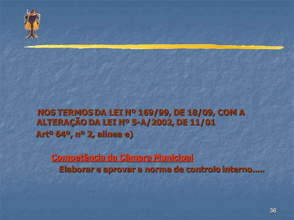 36 NOS TERMOS DA LEI Nº 169/99, DE 18/09, COM A ALTERAÇÃO DA LEI Nº 5-A/2002, DE 11/01 NOS TERMOS DA LEI Nº 169/99, DE 18/09, COM A ALTERAÇÃO DA LEI N