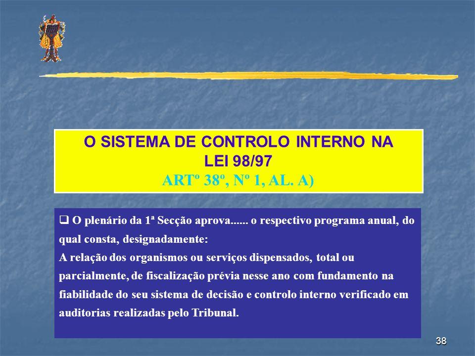 38 O SISTEMA DE CONTROLO INTERNO NA LEI 98/97 ARTº 38º, Nº 1, AL. A) O plenário da 1ª Secção aprova...... o respectivo programa anual, do qual consta,