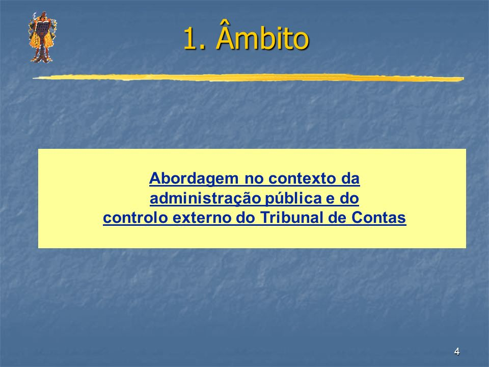 4 1. Âmbito Abordagem no contexto da administração pública e do controlo externo do Tribunal de Contas