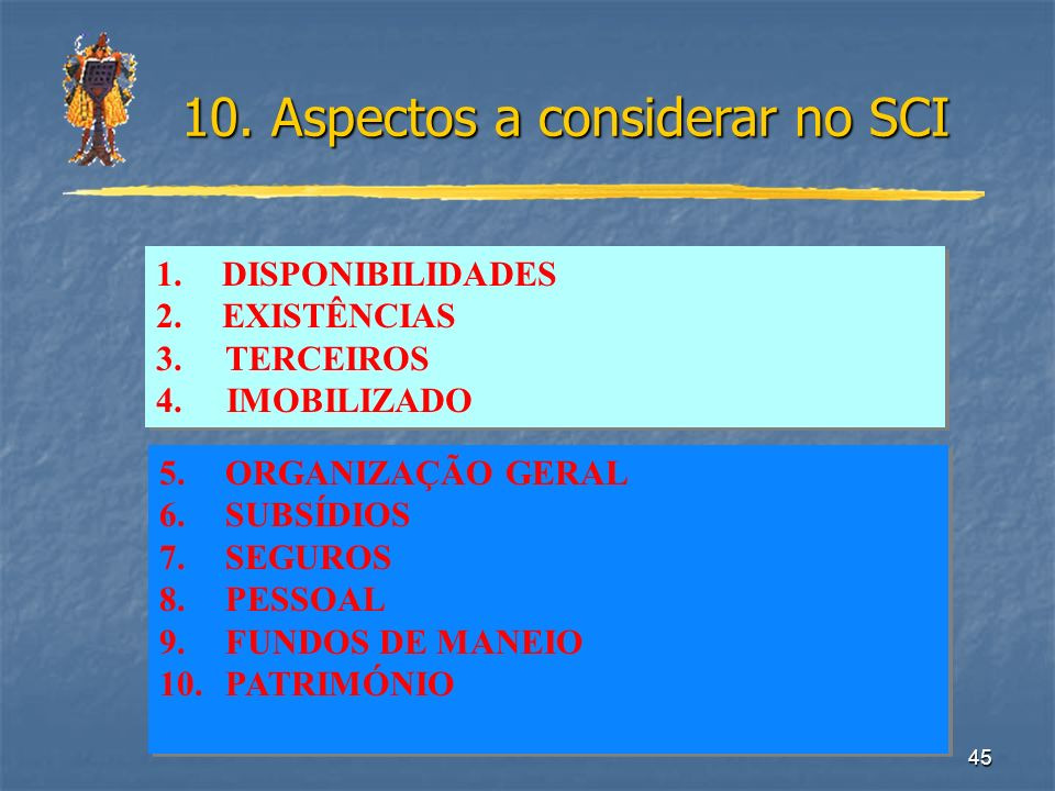 45 10. Aspectos a considerar no SCI 1.DISPONIBILIDADES 2.EXISTÊNCIAS 3. TERCEIROS 4. IMOBILIZADO 1.DISPONIBILIDADES 2.EXISTÊNCIAS 3. TERCEIROS 4. IMOB
