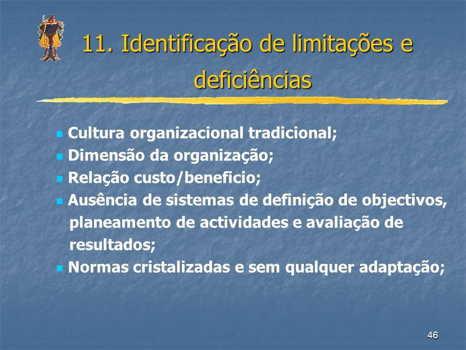 46 11. Identificação de limitações e deficiências Cultura organizacional tradicional; Dimensão da organização; Relação custo/beneficio; Ausência de si