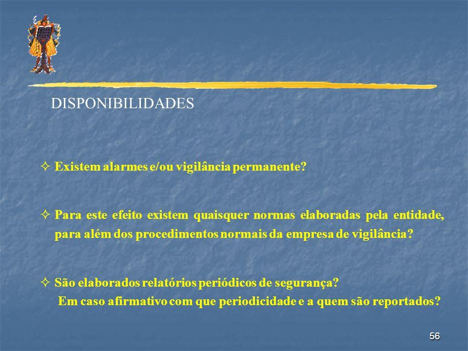 56 DISPONIBILIDADES Existem alarmes e/ou vigilância permanente? Para este efeito existem quaisquer normas elaboradas pela entidade, para além dos proc