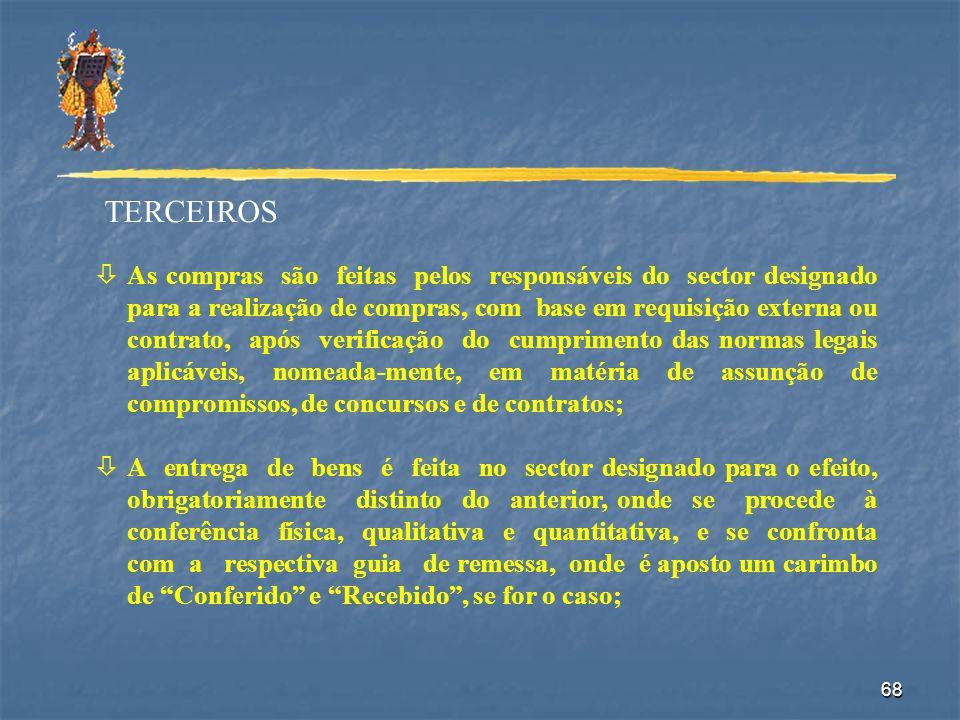 68 TERCEIROS òAs compras são feitas pelos responsáveis do sector designado para a realização de compras, com base em requisição externa ou contrato, a