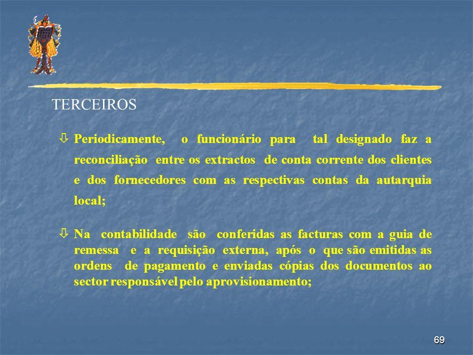 69 TERCEIROS òPeriodicamente, o funcionário para tal designado faz a reconciliação entre os extractos de conta corrente dos clientes e dos fornecedore