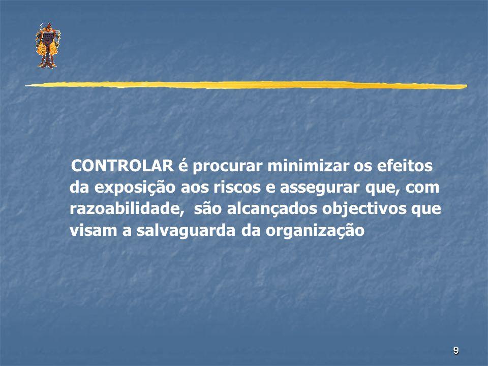 9 CONTROLAR é procurar minimizar os efeitos da exposição aos riscos e assegurar que, com razoabilidade, são alcançados objectivos que visam a salvagua
