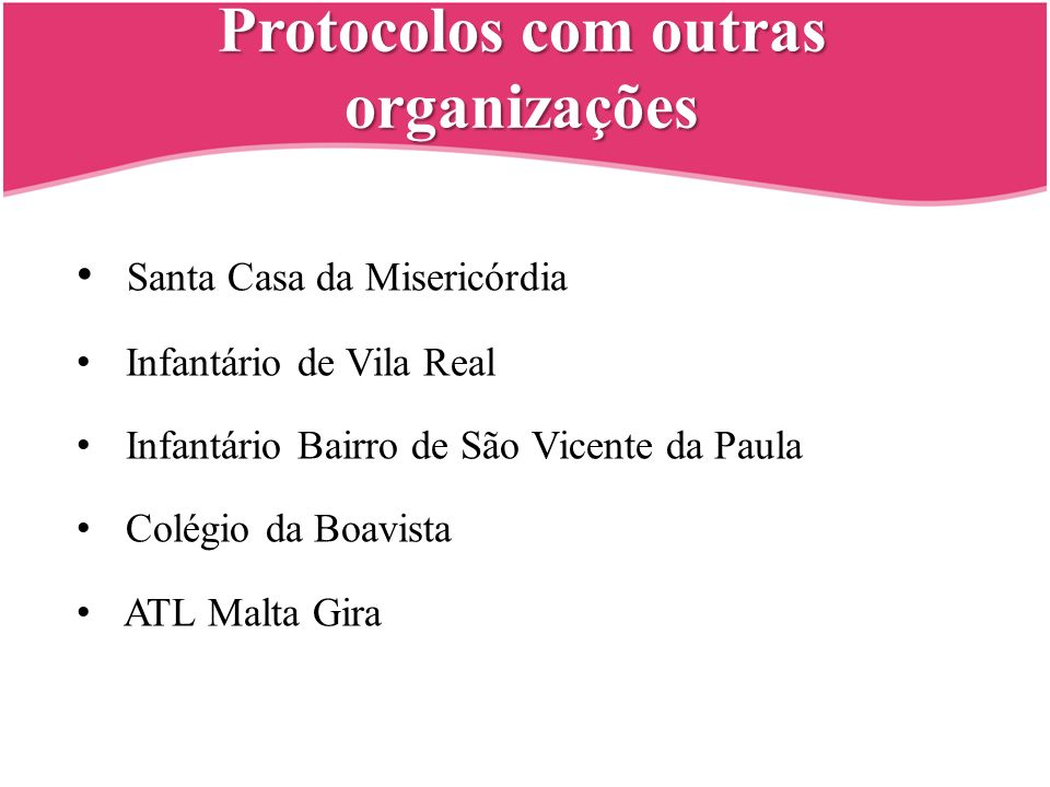 Protocolos com outras organizações Santa Casa da Misericórdia Infantário de Vila Real Infantário Bairro de São Vicente da Paula Colégio da Boavista AT