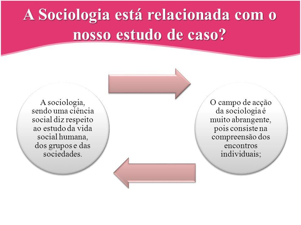 A Sociologia está relacionada com o nosso estudo de caso? A sociologia, sendo uma ciência social diz respeito ao estudo da vida social humana, dos gru