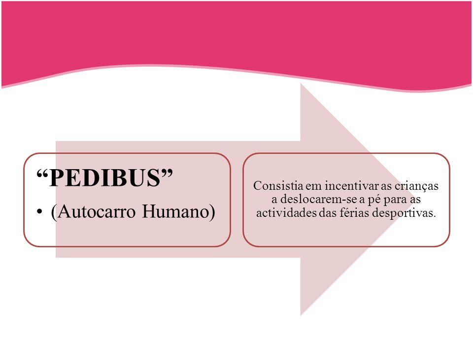 PEDIBUS (Autocarro Humano) Consistia em incentivar as crianças a deslocarem-se a pé para as actividades das férias desportivas.