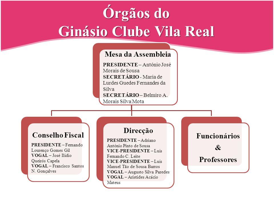 Órgãos do Ginásio Clube Vila Real Mesa da Assembleia PRESIDENTE – António José Morais de Sousa SECRETÁRIO - Maria de Lurdes Guedes Fernandes da Silva SECRETÁRIO – Belmiro A.