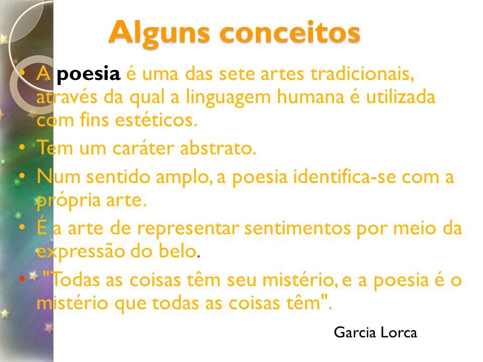 Alguns conceitos A poesia é uma das sete artes tradicionais, através da qual a linguagem humana é utilizada com fins estéticos. Tem um caráter abstrat