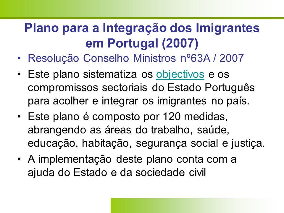 Plano para a Integração dos Imigrantes em Portugal (2007) Resolução Conselho Ministros nº63A / 2007 Este plano sistematiza os objectivos e os compromissos sectoriais do Estado Português para acolher e integrar os imigrantes no país.objectivos Este plano é composto por 120 medidas, abrangendo as áreas do trabalho, saúde, educação, habitação, segurança social e justiça.