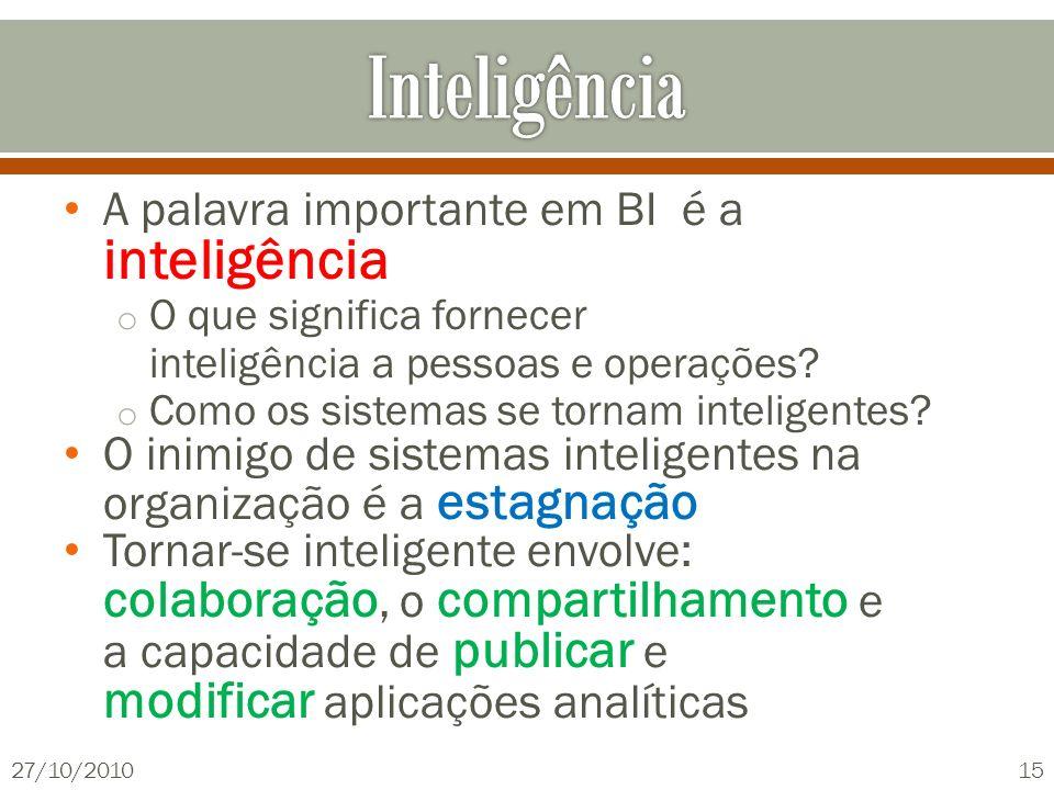 A palavra importante em BI é a inteligência o O que significa fornecer inteligência a pessoas e operações? o Como os sistemas se tornam inteligentes?