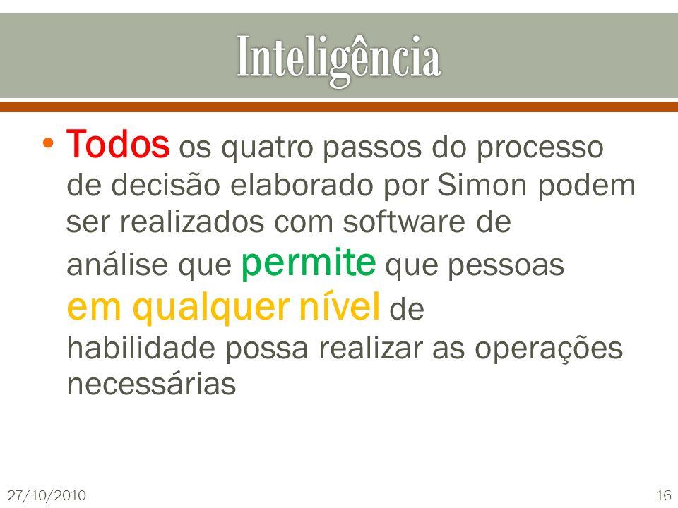 Todos os quatro passos do processo de decisão elaborado por Simon podem ser realizados com software de análise que permite que pessoas em qualquer nív