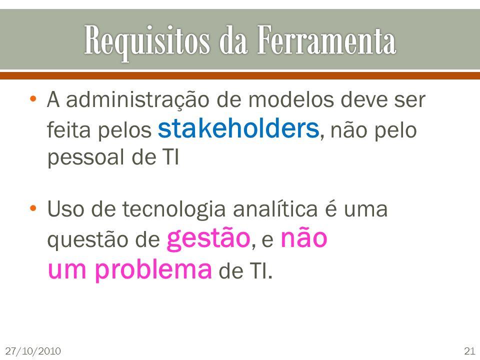 A administração de modelos deve ser feita pelos stakeholders, não pelo pessoal de TI Uso de tecnologia analítica é uma questão de gestão, e não um pro
