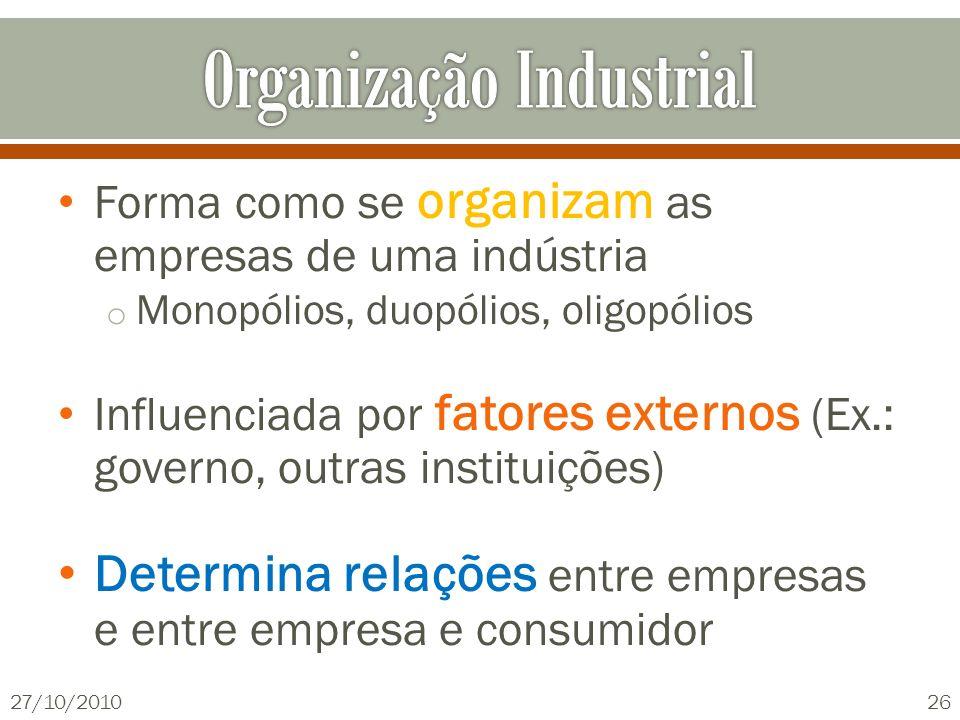 Forma como se organizam as empresas de uma indústria o Monopólios, duopólios, oligopólios Influenciada por fatores externos (Ex.: governo, outras inst