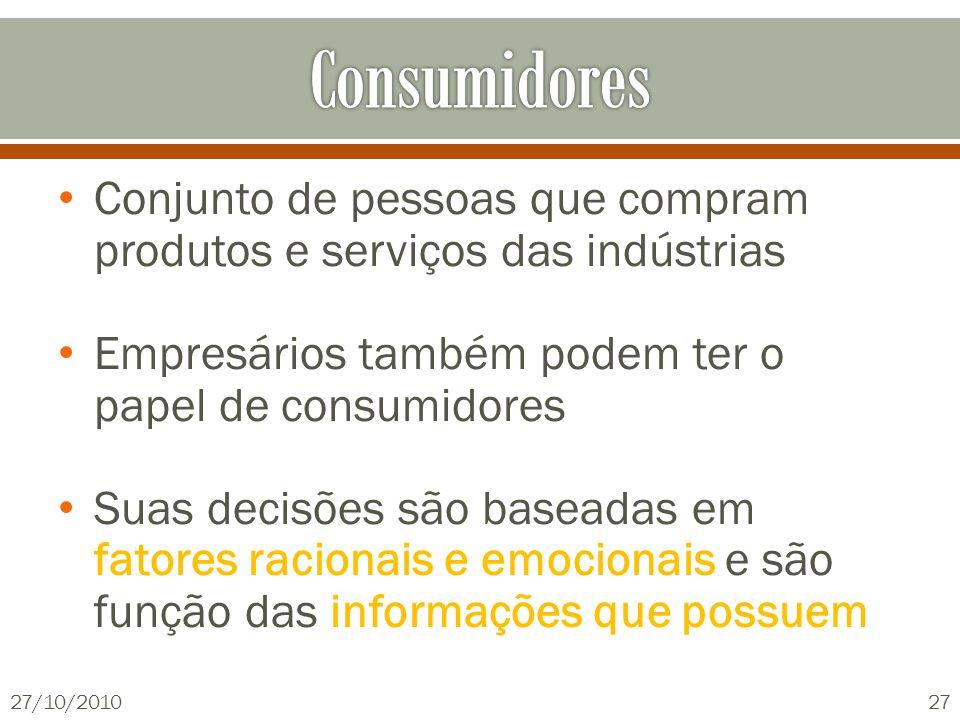 Conjunto de pessoas que compram produtos e serviços das indústrias Empresários também podem ter o papel de consumidores Suas decisões são baseadas em