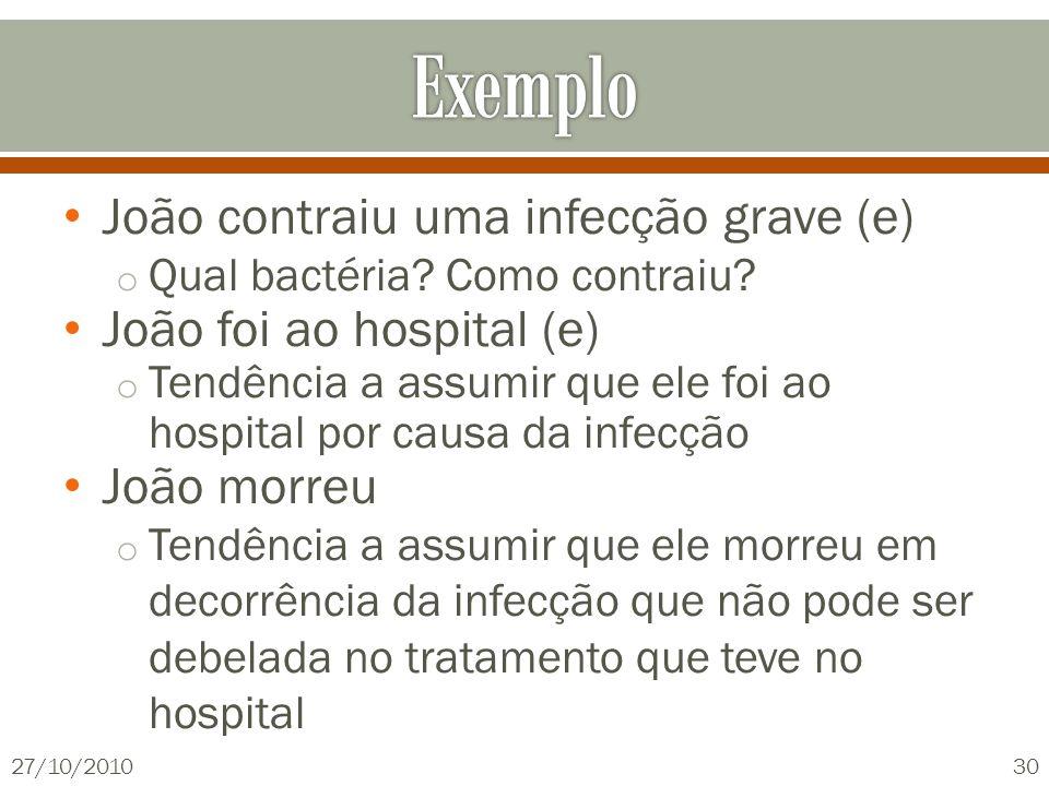 João contraiu uma infecção grave (e) o Qual bactéria? Como contraiu? João foi ao hospital (e) o Tendência a assumir que ele foi ao hospital por causa