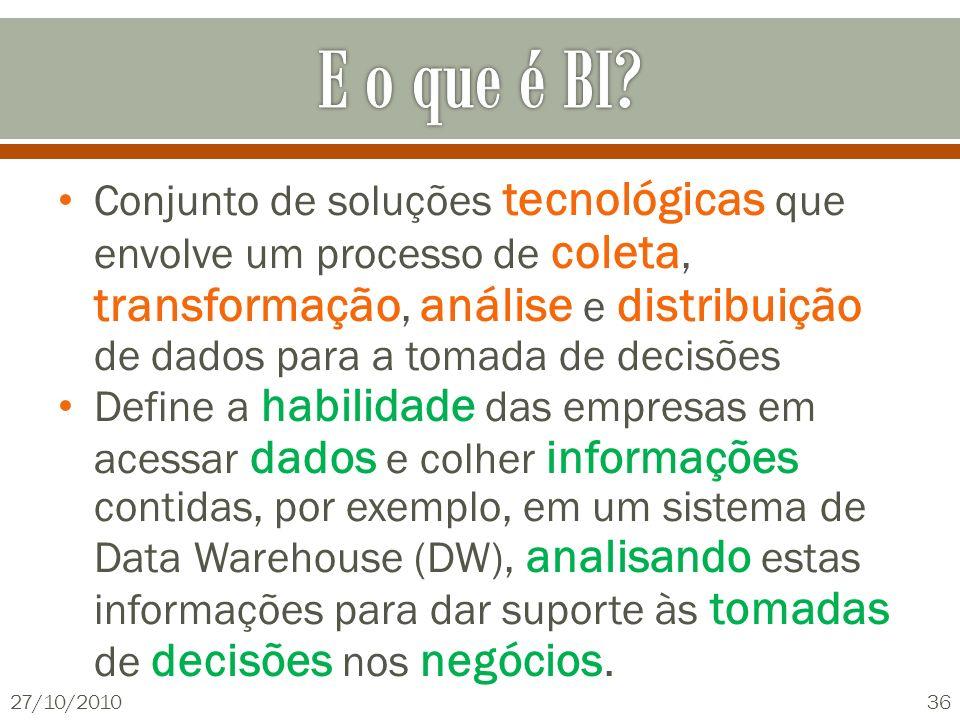 Conjunto de soluções tecnológicas que envolve um processo de coleta, transformação, análise e distribuição de dados para a tomada de decisões Define a