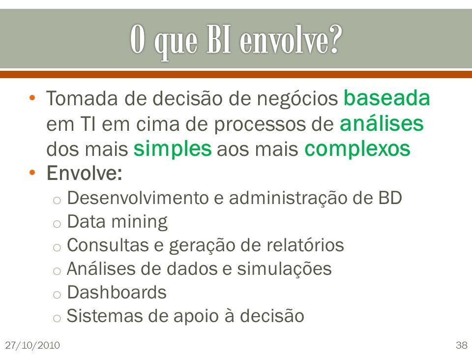 Tomada de decisão de negócios baseada em TI em cima de processos de análises dos mais simples aos mais complexos Envolve: o Desenvolvimento e administ