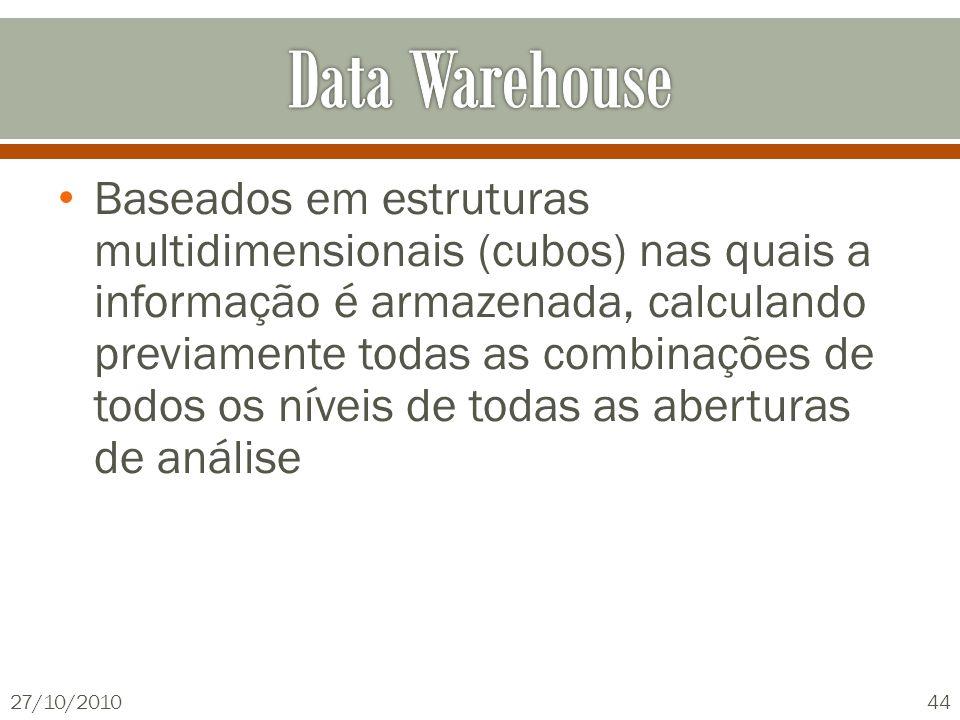 Baseados em estruturas multidimensionais (cubos) nas quais a informação é armazenada, calculando previamente todas as combinações de todos os níveis d